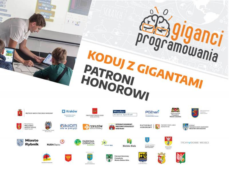 Grafika promująca program Koduj z Gigantami